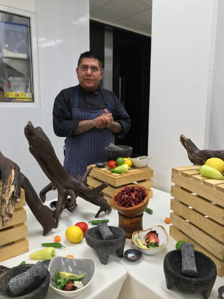 Learning to make salsa molcajete with Chef Roberto Sierra.KIM WESTERMAN