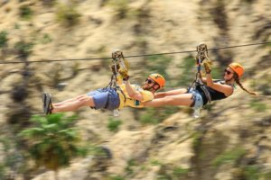 couples in zip line, Cabo Adventure