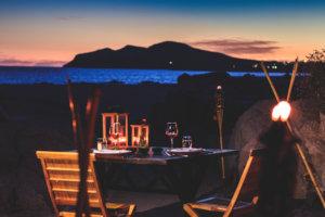 Cena romantica frente al mar en Los Cabos